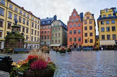 Colourful buildings in Old Town, Stockholm, Sweden