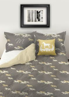 Equestrian themed horse duvet bedding cover set featuring a stylish pattern of yellow and gray trotting horses all over a slate grey background with coordinating accent pillows for any horse lover's bedroom decor. Duvet Bedding, Horse Bedding, Bedroom Themes, Patterned Duvet, Bed Covers, Guest Bedroom Design, Bed, Horse Bedroom, Patterned Bedding Sets