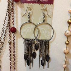Dangle earrings. Silver pierced earrings. With leaves. Daffodil90 Jewelry Earrings