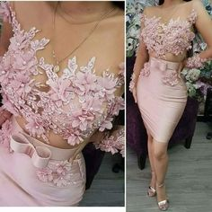 Load image into Gallery viewer, pink evening dresses short 2020 lace appliqué beaded handmade flowers elegant evening gown Cheap Evening Gowns, Mermaid Evening Gown, Long Sleeve Evening Dresses, Prom Outfits, Pink Prom Dresses, Short Dresses, Formal Dresses, Party Dresses, Occasion Dresses