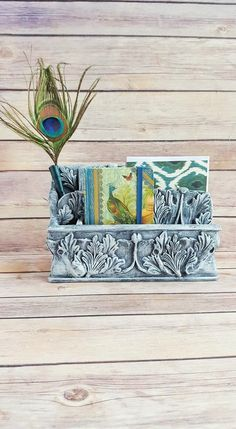 Office Organizer Caddy Catchall Grey Acanthus Leaves French Country Farmhouse Vintage Up Cycled Eco Friendly READY TO SHIP - pinned by pin4etsy.com