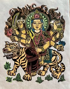 Durga Devi, Protector goddess, Durga w Tiger, Everyday Goddesses, Durga woodblock, Hindu Goddess, World protector Vintage Artwork, Vintage Posters, Thangka Painting, Durga Goddess, Hindu Art, Japanese Paper, Buddhist Art, Woodblock Print, Watercolor And Ink