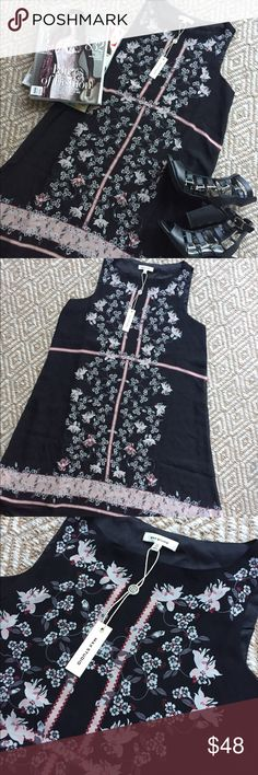 Max Studio Sleeveless Floral Shift Dress Beautiful and flowy sleeveless shift featuring a pale pink and burgundy Floral pattern, pairs perfectly with tights and boots in the fall but also a great summer date night dress! Max Studio Dresses