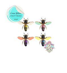 Pop Art Honey Bees Cross Stitch Pattern. Bright Modern Cross Stitch Pattern. Digital Download PDF. (3.00 GBP) by plasticlittlecovers