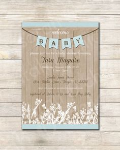 Printable Rustic Baby Shower Invitation boy  sarah O by sarahOchic, $12.00
