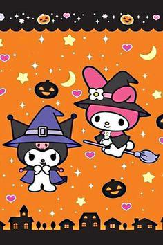 Kurimo & My Melody (Sanrio) Halloween. Please choose vegan My Melody Wallpaper, Sanrio Wallpaper, Hello Kitty Wallpaper, Kawaii Wallpaper, Iphone Wallpaper, Hello Kitty Halloween, Kawaii Halloween, Cute Halloween, Hello Kitty Cartoon