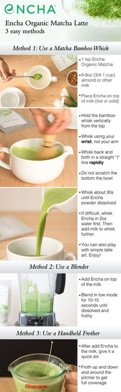 Matcha Latte instruction and recipe using a bamboo whisk, blender or handheld milk frother