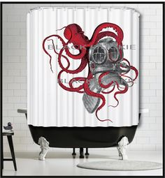 Red Octopus playing with Diver Helmet Shower Curtain - red kraken tentacles diving gear octopus shower curtain by MySillyPoni