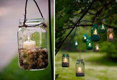 Decora la boda con Velas colgando dentro de frascos de cristal | Decora e ilumina la #Boda con Velas | El Blog de una Novia