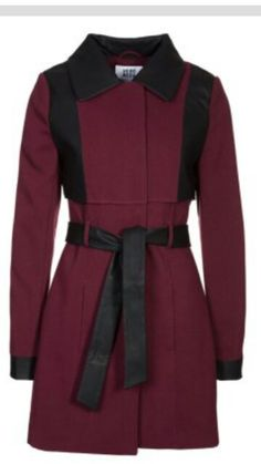 VERO MODA:   Black and Red Mid- Length Coat.
