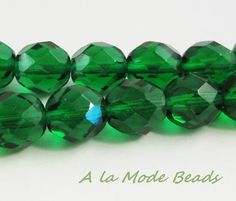 8mm Emerald Green Czech Fire Polished Rounds by AlaModeBeads