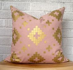 Blush Pink and Gold Aztec Pillow Pale Pink by FigTreeBabyCo