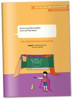 """""""Ich kann eine Rolle darstellen. Und in dieser Rolle bleiben"""" Die Theater-Rollen-Kartei CHECK! Lernmaterialien, passend zur Kompetenz 08.008 Materialheft, 118 Seiten, A4, interaktives pdf-Dokument zum kostenlosen download liebevoll illustriert von Betie Pankoke Raup&Ritter Verlag Mannheim Materialheft mit Kopiervorlagen und Materialien zum improvisierten Rollenspiel. Theater, Movie Posters, Movies, Rpg, Mannheim, Knight, Templates, Learning, Films"""