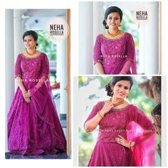 Engagement Dress For Groom, Kerala Engagement Dress, Engagement Dresses, Designer Anarkali Dresses, Designer Party Wear Dresses, Bride Reception Dresses, Wedding Gowns, Long Gown Dress, Sister Wedding