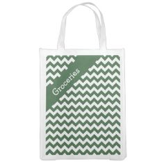 Hunter Green Chevron Reusable Grocery Bags ..............This design features a Hunter Green Chevron pattern. The TEXT on both sides can be customized with your own. Check out my store for more colors
