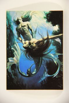 L011001 Boris Vallejo 1992 Card / Mermaid And Triton - 1981 - Card #4 / ARTWORK