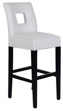 White Leather Padded Bar Stool modern-bar-stools-and-counter-stools