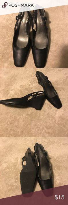 Apostrophe black dress shoes size 81/2 Apostrophe black dress shoes size 81/2. Excellent condition only worn once. ⭐️smoke free home  ⭐️no trades Apostrophe Shoes Wedges