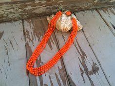 Vintage neon orange necklace by happydayantiques on Etsy, $18.00