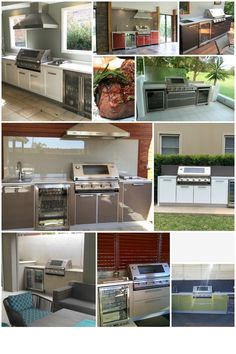 Some outdoor kitchens featuring the Beefeater Signature Series BBQ.