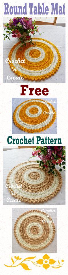 Free crochet pattern for round table mat. #crochetncreate