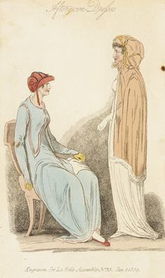 Afternoon dress, fashion plate, hand-colored engraving on paper, published London, January, 1809.