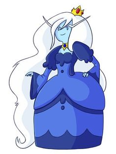 The Ice Queen is the new ruler of the Ice Kingdom and she is the female and more evil version of The Ice King. She is the main villain in Adventure Time with Fionna& Cake. The Ice Queen has light blue skin, long white hair, and lightning-shaped eyebrows. Her hair, while also long like the Ice King's beard, is wavy with curls instead of shaggy. She wears a small gold tiara with red gems and a head band, a blue long sleeved ball gown, and light and dark blue shoes. Her dress to resemble the...