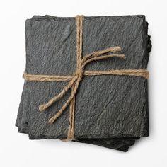 Glasunderlägg, 10x10 cm, 4-pack, mörkgrå