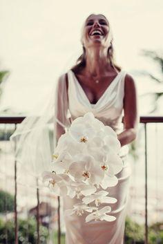 A Tropical White Wedding   Real Wedding Inspiration from Nichole Weddings via AislePlanner.com
