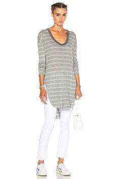 Image 1 of NSF Kiya Top in Heather Grey & White