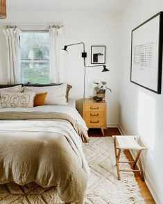 One of my favorite rooms in the house got a bit of a facelift thanks to We've been wanting to brighten up our bedroom with a… Room Ideas Bedroom, Small Room Bedroom, Bedroom Inspo, Bedroom Decor, Earthy Bedroom, Small Apartment Bedrooms, Aesthetic Bedroom, Dream Bedroom, Best White Paint