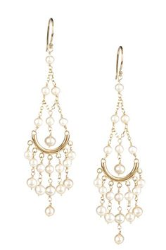 "$380    -190  14K yellow gold and white freshwater pearl chandelier earrings  - French hook back  - Approx. 3.25"" length  - Approx. 4-5mm pearls  - Made in USA    Materials    14K yellow gold, freshwater pearls"