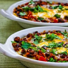 Recipe for Mexican Baked Eggs with Black Beans, Tomatoes, Green Chiles, and Cilantro [from Kalyn's Kitchen] #SouthBeachDiet #LowGlycemic #LowCarb #Gluten Free