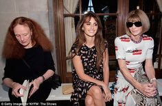 Front and center: Penelope sat beside Grace Coddington and Vogue Editor-in-Chief Anna Wintour as she admired the collection