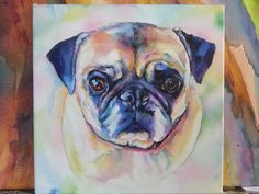Pug Watercolor ARt - I sell prints on Etsy, Ebay & Fine Art America & Café Press, or just contact me. I also do CUSTOM paintings! www.christystudios.com