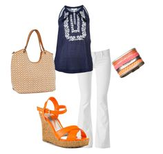 A chevron handbag, white pants, and orange patent wedges by Charles David