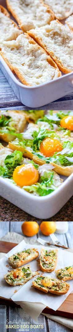 Healthy, Gluten Free Vegetable Stuffed Egg Boats using Udi's Gluten Free Baguettes