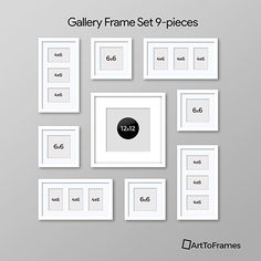 Amazon.com: ArtToFrames Picture Frame 7 Piece Wall Set, (5) 10x8, (2) 10x10 inch, Gray Frames, White Display Mats: Home & Kitchen