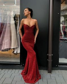 eabef25b3af Sexy Spaghetti Straps V Neck Dark Red Sequins Long Prom Dress