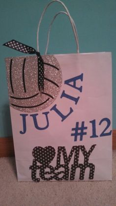 Volleyball gift bag. Made 12 for the team.