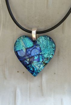 Fused Dichroic Heart Pendant, Glass Jewelry, Aqua, Blue, Silver, Necklace Included, One of a Kind