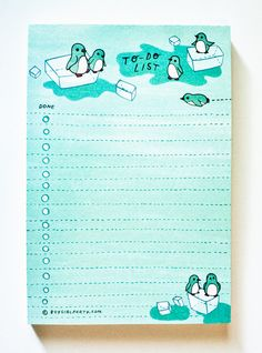 Winter Penguin TO-DO-LIST notepad at http://shop.boygirlparty.com
