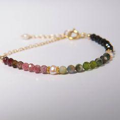 Tourmaline Ombre Bracelet -Elegant Gemstone Bead Bracelet -Birthday Gift Her - October Birthstone-Tourmaline Pearl Bracelet-Jewelry Gift Her