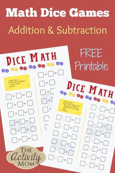 Addition and Subtraction Dice Games for Kids. Math Dice Games for Kids. Use these addition and subtraction worksheets and make them into a game with our tips and tricks!   #addition #subtraction #math #dicegame #mathgame #freeprintable