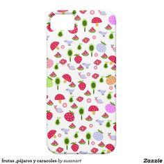frutas ,pájaros y caracoles iPhone 5 fundas