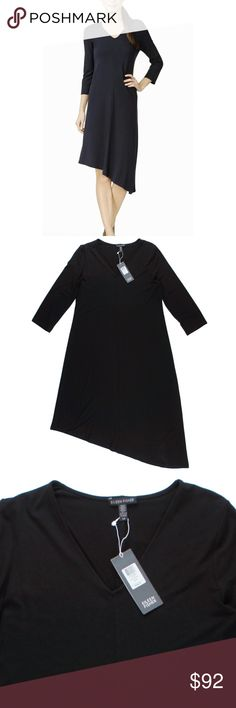 """New EILEEN FISHER Black Jersey Asymmetrical Dress Size - S / P   This new black viscose jersey knit dress from EILEEN FISHER features a pullover style, v-neckline, 3/4 length sleeves and an asymmetrical hemline. Made of 92% Viscose, and 8% lycra. Unlined.   Measures:  Bust 36"""" Total Length: 48"""" Sleeves: 18"""" Eileen Fisher Dresses Asymmetrical"""