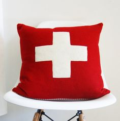 Wool Pillow Cover - red and white - - first aid - Swiss army cross - Made in Oregon - ready to ship Pendleton Pillow, Pendleton Wool, Wool Pillows, Velvet Pillows, Throw Pillows, Red Cross First Aid, White Crosses, Vintage Velvet, Decorative Pillow Covers