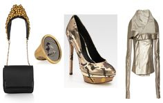 Gold Rush for Fall: Louboutin Artemis shoulder bag  at net-a-porter. McQueen skull cameo ring  at net-a-porter. B. Brian Atwood metallic snakeprint Fontanne pump  at Neiman Marcus. Rick Owens jacket at net-a-porter. From LuxeCrush.com