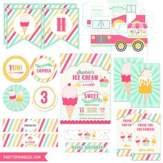Printable Ice Cream Parlor Party Collection : Invitations, Tags, Banner, Labels, Ice Cream Trucks and more!