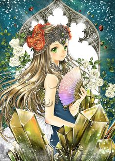 Alexandrite princess with long blond hair, green eyes, turquoise blue dress, & red flowers in hair by manga artist Shiitake.